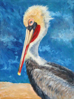 A Pelican Pose - original animal painting by Reneé King
