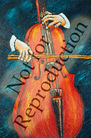 The Cellist - original musical painting by Reneé King