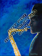Sax Man - original musical painting by Reneé King