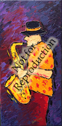 The Sax Player - original musical painting by Reneé King